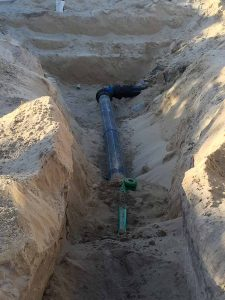 Groundforce Civil excavation and installation of poly pipe.